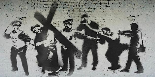 murales comparso a Londra nel 2013 durante i giorni di Pasqua sullo stile del celebre street artist Bansky